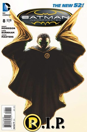 Capa da edição de número 8 do HQ 'Batman incorporated', que mostrará a morte de Robin (Foto: Divulgação)
